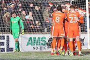Shrewsbury Town forward Stefan Payne (45) takes a penalty and scores a goal 1-2 and celebrates  during the EFL Sky Bet League 1 match between Scunthorpe United and Shrewsbury Town at Glanford Park, Scunthorpe, England on 17 March 2018. Picture by Mick Atkins.