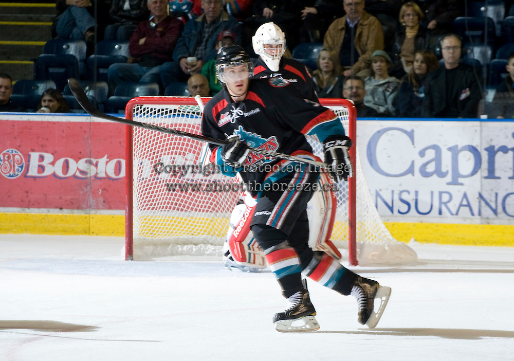 KELOWNA, CANADA, DECEMBER 3: Kevin Smith #3 of the Kelowna Rockets skates on the ice as the Prince George Cougars visit the Kelowna Rockets  on December 3, 2011 at Prospera Place in Kelowna, British Columbia, Canada (Photo by Marissa Baecker/Shoot the Breeze) *** Local Caption ***
