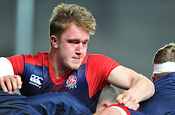 Alex Moon lock for England (Northampton Saints) warms up before facing Wales in Six Nations U20  - Mandatory by-line: Paul Knight/JMP - Mobile: 07966 386802 - 11/03/2016 -  RUGBY - Ashton Gate Stadium - Bristol, England -  England U20 v Wales U20 - Six Nations U20