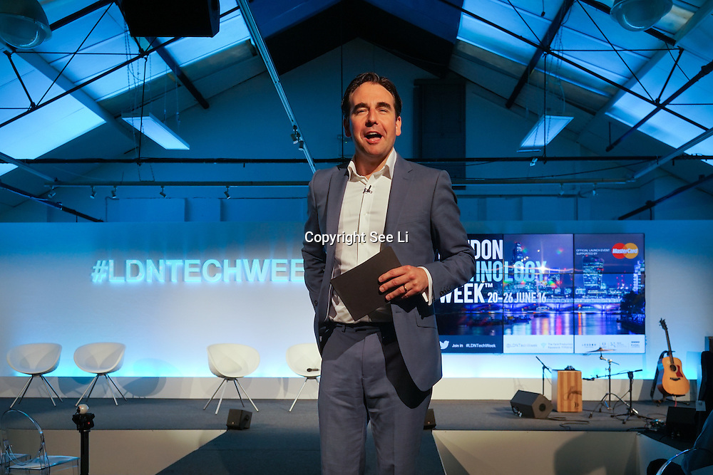 London,England,UK : 20 th June 2016 : Presenter Oli Barrett,Director, Cospa & Startup Britain London Technology Week 2016 opening press day at The Yard,Worship Street, London. Photo by See Li