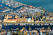 Nederland, Noord-Holland, Enkhuizen, 28-10-2016; centrum van Enkhuizen rond Zuiderzeemuseum. Oosterhaven<br /> Enkhuizen historical city centre.<br /> luchtfoto (toeslag op standard tarieven);<br /> aerial photo (additional fee required);<br /> copyright foto/photo Siebe Swart