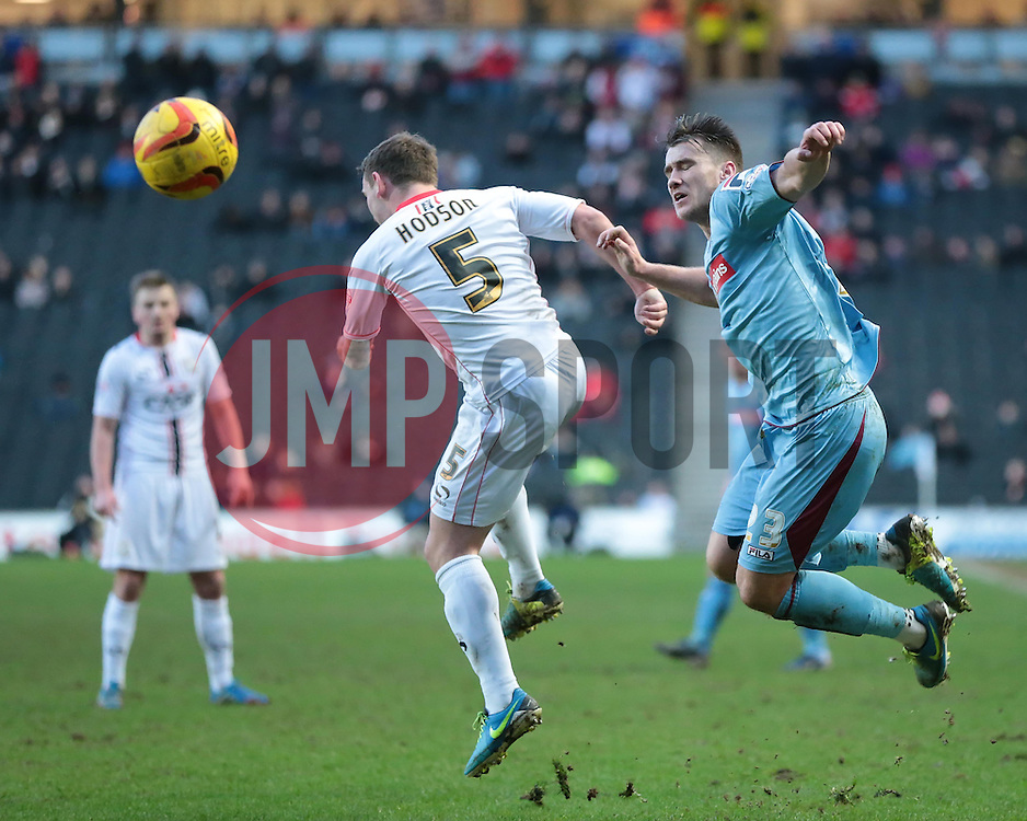 Tranmere Rovers' Liam Ridehalgh and Milton Keynes Dons' Lee Hodson vie for the ball - Photo mandatory by-line: Nigel Pitts-Drake/JMP - Tel: Mobile: 07966 386802 01/02/2014 - SPORT - FOOTBALL - Stadium MK - Milton Keynes - MK Dons v Tranmere Rovers - Sky Bet League One
