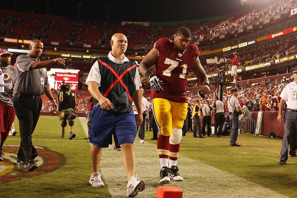 Landover, Md., Sept. 19, 2010 - Washington Redskins vs. Houston Texans - Trent Williams walks off the field.