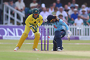 Tammy Beaumont of England (12) survives a stumping appeal by Alyssa Healy of Australia (77) during the Royal London Women's One Day International match between England Women Cricket and Australia at the Fischer County Ground, Grace Road, Leicester, United Kingdom on 4 July 2019.