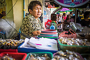 05 OCTOBER 2012 - BANGKOK, THAILAND:  A vendor in the amulet market in Bangkok. Hundreds of vendors sell amulet and Buddhist religious paraphernalia to people in the area north of the Grand Palace near Wat Maharat in Bangkok.        PHOTO BY JACK KURTZ