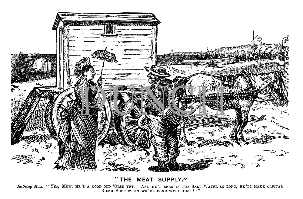 """The Meat Supply."" Bathing-Man. ""Yes, Mum, he's a good old 'orse yet. And he's been in the salt water so long, he'll make capital biled beef when we're done with him!!!"""