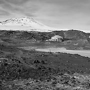Hut with Mount Erebus volcano