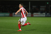 Billy Waters celebrates his goal   during the EFL Sky Bet League 2 match between Cheltenham Town and Bury at LCI Rail Stadium, Cheltenham, England on 5 March 2019.