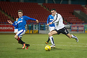 Dundee&rsquo;s Michael Duffy fires in a shot- Rangers v Dundee in the SPFL Development League at Forthbank, Stirling. Photo: David Young<br /> <br />  - &copy; David Young - www.davidyoungphoto.co.uk - email: davidyoungphoto@gmail.com