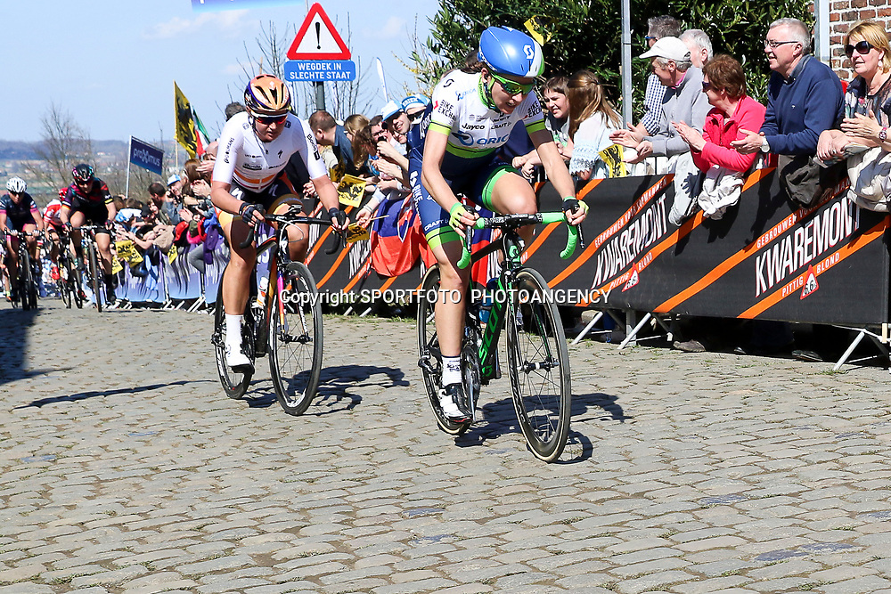 03-04-2016: Wielrennen: Ronde van Vlaanderen vrouwen: Oudenaarde  <br />OUDENAARDE (BEL) cycling  The sixth race in the UCI Womensworldtour is the ronde van Vlaanderen. A race over the famous Flemish climbs.<br />Oude Kwaremont, Annemiek van Vleuten, Chantal Blaak