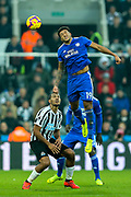 Nathaniel Mendez-Laing (#19) of Cardiff City leaps to win a header during the Premier League match between Newcastle United and Cardiff City at St. James's Park, Newcastle, England on 19 January 2019.