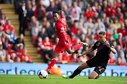 LIVERPOOL, ENGLAND - Saturday, October 5, 2013: Liverpool's Daniel Sturridge in action against Crystal Palace during the Premiership match at Anfield. (Pic by David Rawcliffe/Propaganda)