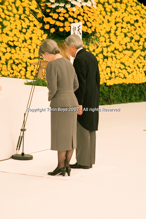 Japanese Emperor Akihito and Empress Michiko are seen here during the national memorial service for war dead held annually at the Nippon Budokan hall in Tokyo on August 15, the anniversary of the end of World War II (for Japan). In addition to the Emperor, also in attendance was Prime Minister Shinzo Abe (his first time here as PM), as well several high ranking Japanese politicians, military officials, and most importantly Japanese WW II veterans and bereaved family members. This service remembers the 3.1 million Japanese who died during the war including both soldiers and civilians. According to government organizers, 4,776 family members attended the memorial this year on the 62nd anniversary of the end of WW II, August 15, 2007..