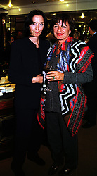 Left to right, fashion designer CATHERINE WALKER and the HON.MRS LAWSON she was Rosa Monckton, at a reception in London on 5th October 1999.MXD 31