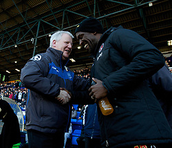 BIRKENHEAD, ENGLAND - Saturday, February 18, 2012: Tranmere Rovers' manager Les Parry and Charlton Athletic's manager Chris Powell before the Football League One match at Prenton Park. (Pic by Vegard Grott/Propaganda)