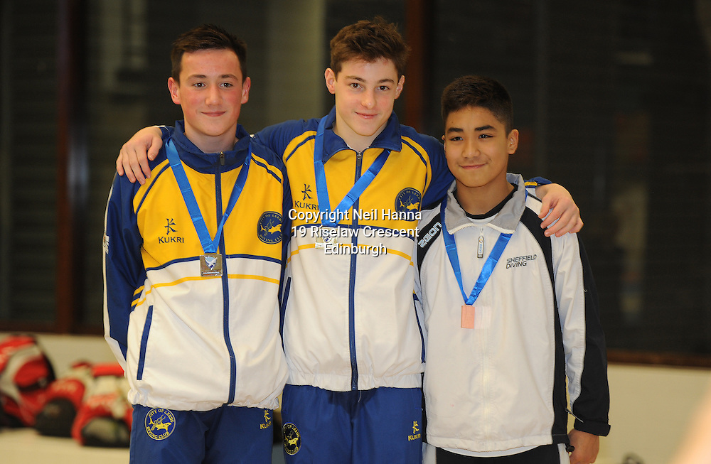 Scottish National Diving Championships & Thistle Trophy 2015<br /> Royal Commonwealth Pool, Edinburgh<br /> <br /> Mens 1m Junior Open<br /> <br /> Oliver Crompton, Anthony Harding both City of Leeds DC and Raffael Benitez of City of Sheffield DC<br /> <br /> <br />  Neil Hanna Photography<br /> www.neilhannaphotography.co.uk<br /> 07702 246823