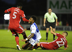 Ellis Harrison of Bristol Rovers is brought down - Mandatory by-line: Neil Brookman/JMP - 11/08/2016 - FOOTBALL - Memorial Stadium - Bristol, England - Bristol Rovers v Cardiff City - EFL League Cup
