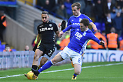 Leeds United midfielder Kemar Roofe (7) tackled by Birmingham City midfielder Craig Gardner (8) 0-0 during the EFL Sky Bet Championship match between Birmingham City and Leeds United at St Andrews, Birmingham, England on 30 December 2017. Photo by Alan Franklin.