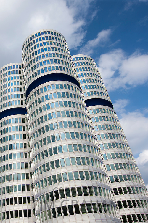 Modern architecture at the BMW Headquarters office blocks in Munich, Bavaria, Germany