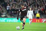 Bayer Leverkusen striker Javier Hernandez (7) with a shot on goal during the Champions League match between Tottenham Hotspur and Bayer Leverkusen at Wembley Stadium, London, England on 2 November 2016. Photo by Matthew Redman.