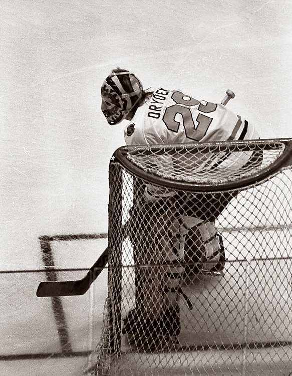 Taken at Madison Square Garden in 1979 at the U.S.S.R. versus NHL series. This is goalie Ken Dryden for the NHL.
