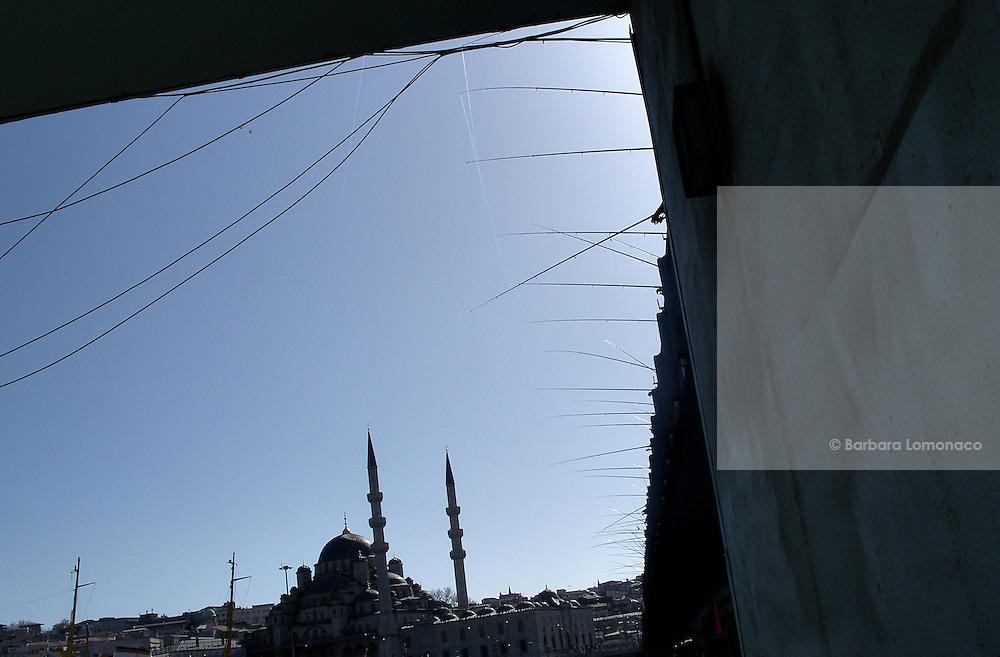 Istanbul. Fishing rods from the Galata bridge.