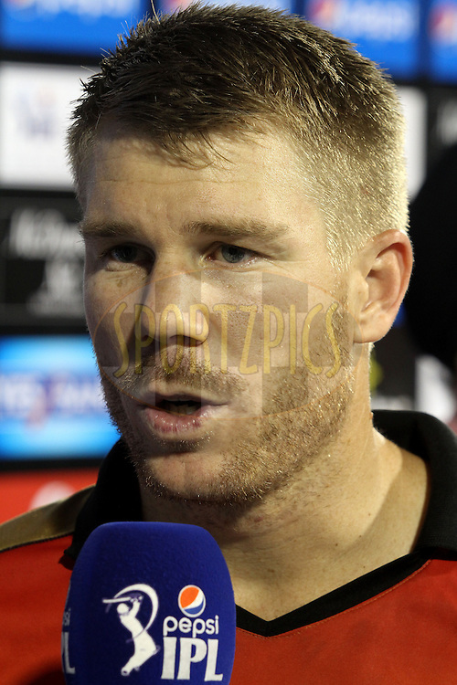 Sunrisers Hyderabad captain David Warner during match 45 of the Pepsi IPL 2015 (Indian Premier League) between The Delhi Daredevils and the Sunrisers Hyderabad held at the Shaheed Veer Narayan Singh International Cricket Stadium in Raipur, India on the 9th May 2015.<br /> <br /> Photo by:  Shaun Roy / SPORTZPICS / IPL