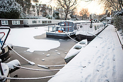 © Licensed to London News Pictures. 28/02/2018. London, UK. Picturesque scenes in Little Venice, West London following heavy snowfall last night. Large parts of the UK are experiencing disruption as 'Storm Emma' hits, following Russian a cold front earlier in the week named 'The Beast From The East'. Photo credit: Ben Cawthra/LNP