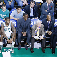 26 April 2013: Boston Celtics point guard Rajon Rondo (9) is seen on the bench next Boston Celtics shooting guard Terrence Williams (55) during Game Three of the Eastern Conference Quarterfinals of the 2013 NBA Playoffs at the TD Garden, Boston, Massachusetts, USA.