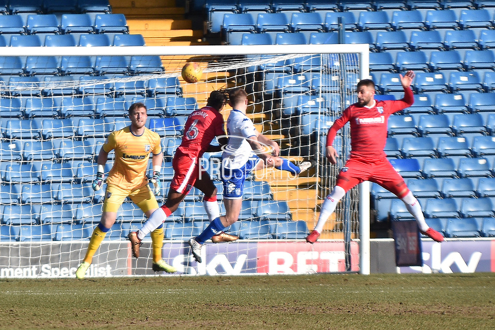 Bury Forward, George Miller (19) shoots  during the EFL Sky Bet League 1 match between Bury and Gillingham at the JD Stadium, Bury, England on 24 February 2018. Picture by Mark Pollitt.