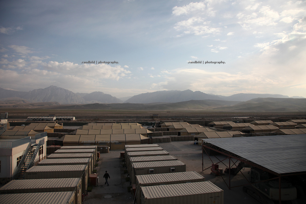 View across Camp Marmal near Mazar-e Sharif to Marmal mountain range.