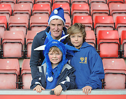 Everton Fans pose for a picture inside the St Mary's Stadium.  - Photo mandatory by-line: Alex James/JMP - Mobile: 07966 386802 - 20/12/2014 - SPORT - Football - Southampton  - St Mary's Stadium - Southampton  v Everton - Football