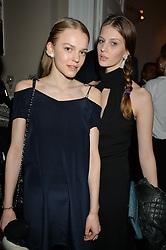 Left to right, GRACE PLOWDEN and FLORENCE KOSKY at the Tatler Little Black Book Party held at Home House Private Member's Club, Portman Square, London supported by CARAT on 6th November 2014.