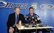 24 May 2003, Eden Park Auckland, Rugby Union, Xtra Super 12 Final, Auckland Blues vs Canterbury Crusaders.<br />Blue's coach Peter Sloane with captain Xavier Rush at the post match press conference the final on Saturday night.<br />Pic: Marty Melville/Photosport