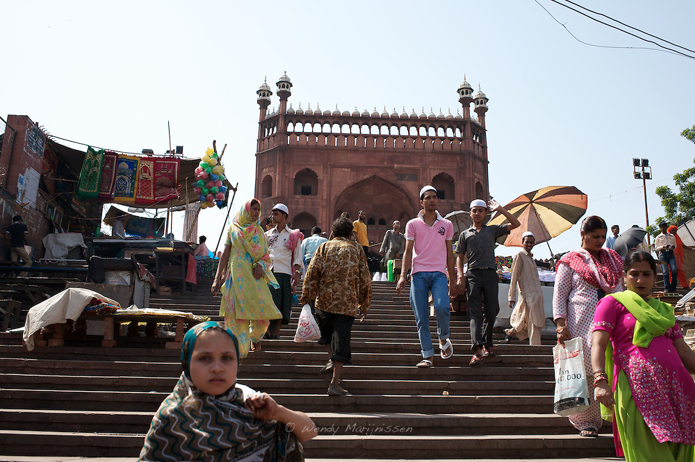 People on the streets surrounding the Jama Masjidmosque in Old Delhi. New Delhi, India