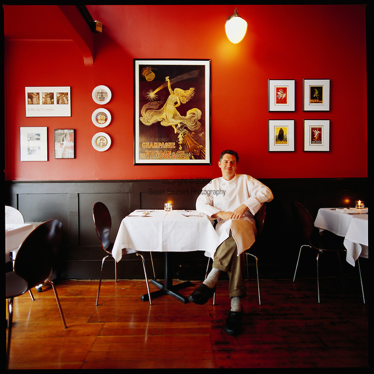 """Brasserie """"l'école"""" is the small French bistro owned and operated by Sommelier Marc Morrison and Chef Sean Brennan (who is pictured here in the restaurant)..The restaurant opened December 14th, 2001 and has won numerous awards and accolades since such as Best Restaurant in Victoria"""