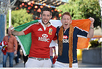 22 June 2013; British & Irish Lions supporters David Morrissey, from Cork City, left, and James Hassell, from Greystones, Co. Wicklow, in Brisbane ahead of the game. British & Irish Lions Tour 2013, 1st Test, Australia v British & Irish Lions. Brisbane, Queensland, Australia. Picture credit: Stephen McCarthy / SPORTSFILE