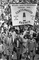 Cortonwood banner, 1984 Yorkshire Miner's Gala. Wakefield.
