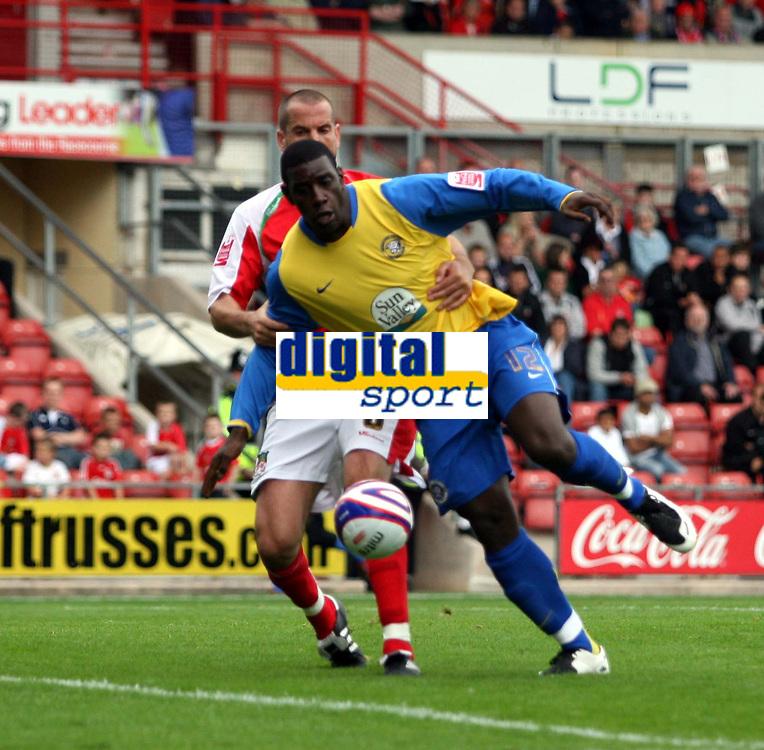 Photo: Mark Stephenson.<br /> Wrexham v Hereford United. Coca Cola League 2. 01/09/2007.Hereford's Trevor Benjamin turns and fires the ball home foe 2-0