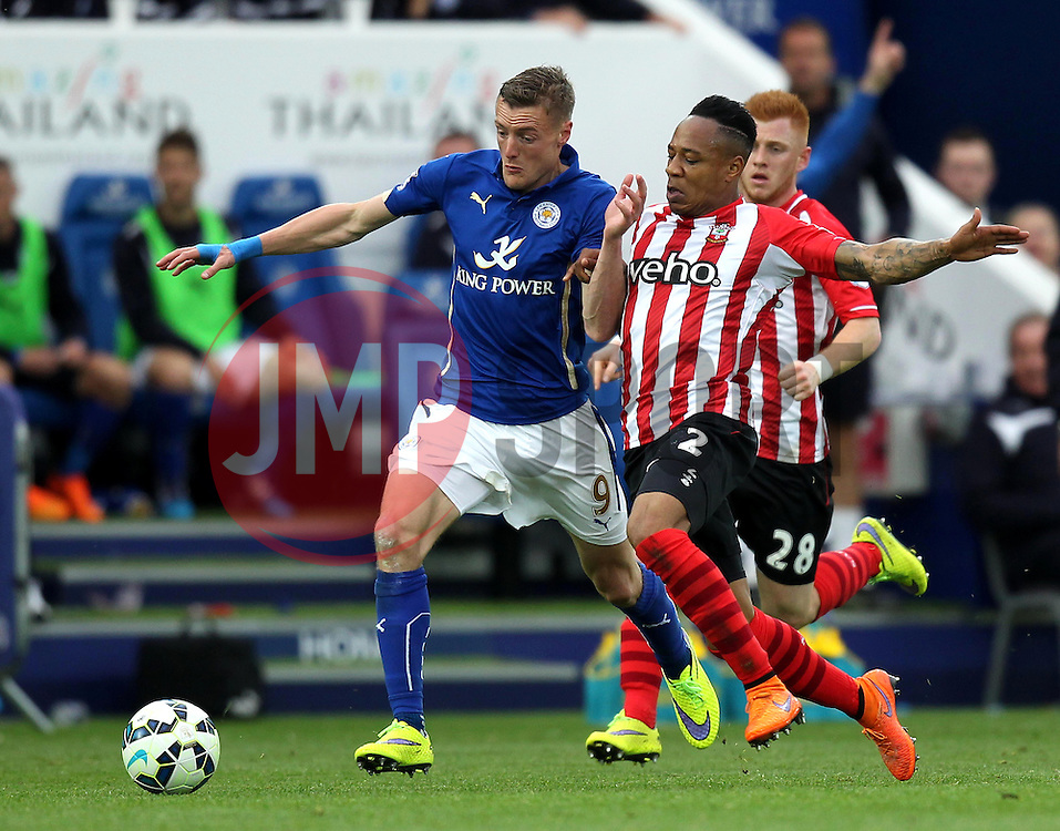 Southampton's Nathaniel Clyne battles with Leicester City's Jamie Vardy - Photo mandatory by-line: Robbie Stephenson/JMP - Mobile: 07966 386802 - 09/05/2015 - SPORT - Football - Leicester - King Power Stadium - Leicester City v Southampton - Barclays Premier League