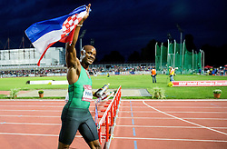 Asafa Powell of Jamaica celebrates with Croatian flag after winning in 100m Men during IAAF World Challenge Zagreb - The 65th Hanzekovic Memorial Meeting, on September 8, 2015, in Stadium Mladost, Zagreb, Croatia. Photo by Vid Ponikvar / Sportida