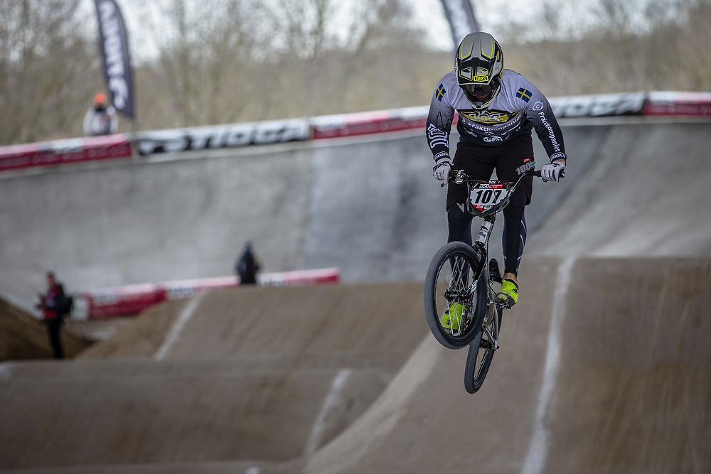 #107 (SVANBERG Filip) SWE at Round 2 of the 2018 UCI BMX Superscross World Cup in Saint-Quentin-En-Yvelines, France.