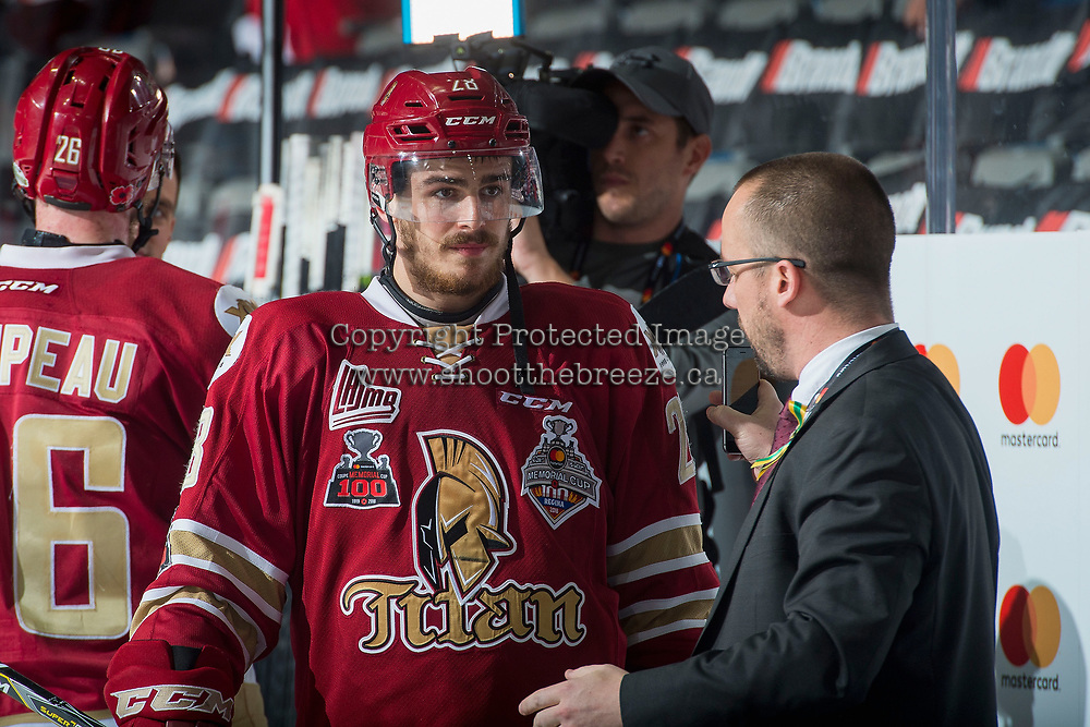 REGINA, SK - MAY 19: Samuel Asselin #28 of Acadie-Bathurst Titan is interviewed by media post game against the Swift Current Broncos at the Brandt Centre on May 19, 2018 in Regina, Canada. (Photo by Marissa Baecker/CHL Images)