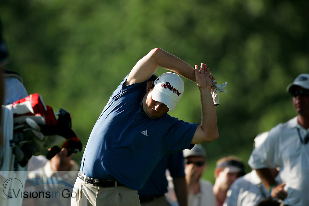 Tim Clark stretching on the tee<br /> 060616 / Winged Foot GC, NY,  USA /  USGA Open Championship 2006<br /> Picture Credit: Mark Newcombe / visionsingolf.com