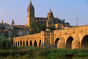 SPAIN, CASTILE and LEON, SALAMANCA skyline of the city across the Tormes River with the Cathedral visible above the Roman Bridge