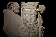 Stone bas relief of crowned bearded man with lion's body, c. 1150, originally from Picheny abbey, Montlevon, Aisne, Picardie, (now destroyed) and displayed at the museum at Fontenay Abbey, Marmagne, Burgundy, France. The carving is inspired by Sassanian dynasty Persian reliefs. The Cistercian abbey at Fontenay was founded by Saint Bernard of Clairvaux in 1119, built in the Romanesque style. The abbey itself housed 300 monks from 1200, but was sacked during the French Revolution. Its abbey church is the oldest Cistercian church in France. Collection ED. Aynard Picture by Manuel Cohen