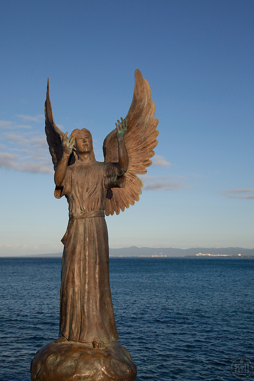 """Angel of Hope"" - This angel statue was photographed at the Malecon in Puerto Vallarta, Mexico."