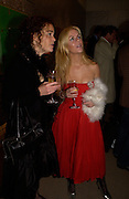 Aileen Corkery and Rachel Thomas, Party to celebrate Damien'Hirst's Pharmacy. Sotheby's. 15 October 2004. ONE TIME USE ONLY - DO NOT ARCHIVE  © Copyright Photograph by Dafydd Jones 66 Stockwell Park Rd. London SW9 0DA Tel 020 7733 0108 www.dafjones.com