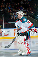 KELOWNA, CANADA -FEBRUARY 8: Jordon Cooke #30 of the Kelowna Rockets skates to the net against the Victoria Royals on February 8, 2014 at Prospera Place in Kelowna, British Columbia, Canada.   (Photo by Marissa Baecker/Getty Images)  *** Local Caption *** Jordon Cooke;