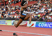 Tori Franklin (USA) places fourth in the women's triple jump at 46-6 (14.17m) during the Weltklasse Zurich in an IAAF Diamond League meeting at Letzigrund Stadium in Zurich, Switzerland on Thursday, August 30, 2018.(Jiro Mochizuki/Image of Sport)